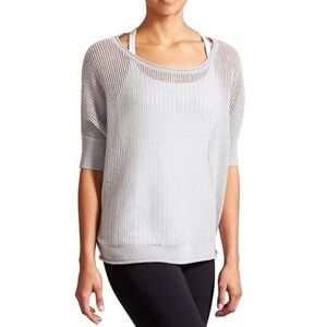 Athleta Baby Blue Cashmere Linen Knit Pullover